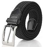 Fairwin Cintura Elastica Intrecciata per Uomo e Donna, Confortevole Cintura in Tessuto Elastico Stretch,per Jeans Pantaloni,Nero, per la Vita 100-110 cm