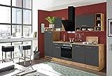 respekta cuisine cuisine en MURAGE bloc-cuisine Cuisine encastrée 280 cm Chêne sauvage gris