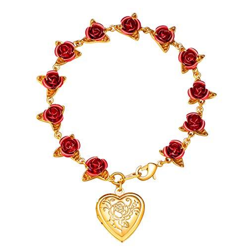 U7 Damen Armband Gelbgold überzogen Rose Blumen Charms Amrkette mit Herz Medaillon Gliederarmband eleganter Armschmuck Ehefrau Freundin (Gelbgold Medaillon-armband)