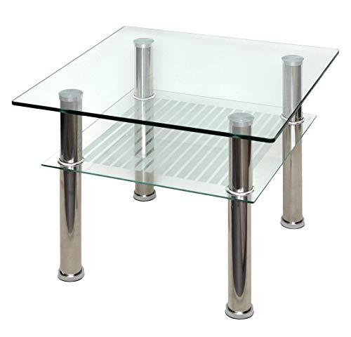 ts-ideen 4804 - tavolino in vetro di sicurezza monolastra di 10 mm e acciaio inox, 60 x 60 cm