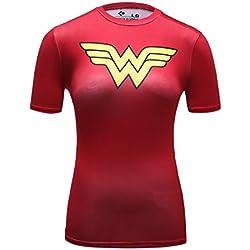Cody Lundin® Mujeres Fitness compresión Impresión 3D Digital superhéroe Camiseta, película Tema héroe Yoga Running Tenis Manga Corta Deportes Camiseta (M, Wonder Woman B)