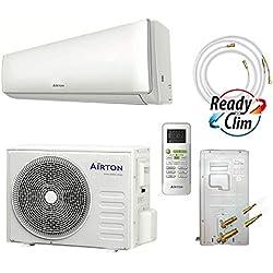 Airton Climatiseur réversible prêt à poser 2600W 9000 BTU pré-chargé en gaz R32 (PAC AIR/AIR) de 4M - convient pour une surface de 30M2 [Classe énergétique A++]