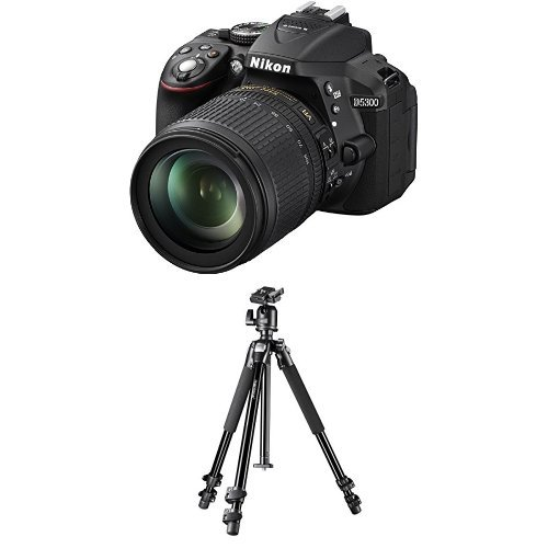 Nikon D5300 SLR-Digitalkamera (24,2 Megapixel, 8,1cm (3,2 Zoll) LCD-Display, Full HD, HDMI, WiFi, GPS) Kit inkl. AF-S DX 18-105 VR Objektiv schwarz + Mantona Scout Max Makro II Dreibeinstativ (Nikon D5300 Kamera-kit)