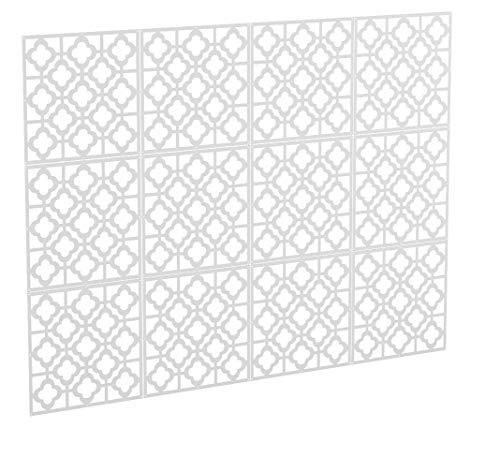 Kernorv DIY Raumteiler aus umweltfreundlichem PVC, 12 Stück, einfache und Moderne Hängepaneele zum Dekorieren von Schlafzimmer, Esszimmer, Arbeitszimmer und Wohnzimmer, Hotel, Bar und Schule White-02