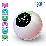 Te-Rich Luce di Sveglia,Wake Up Light Ricaricabile con Bluetooth Altoparlanti, con controllo Tattile, Snooze, 7 Colori, 6 Suoni ipnotici, 2 modalità di illuminazione, Regali per feste, compleanni