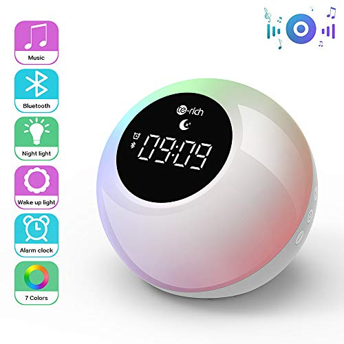 Te-Rich Luz Despertador Recargable para niños con altavoces Bluetooth,Wake up light portátil con Control...