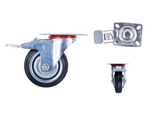 roulette-pivotante-avec-frein-armature-en-tole-acier-galvanisee-roue-a-bandage-caoutchouc-noir-jante