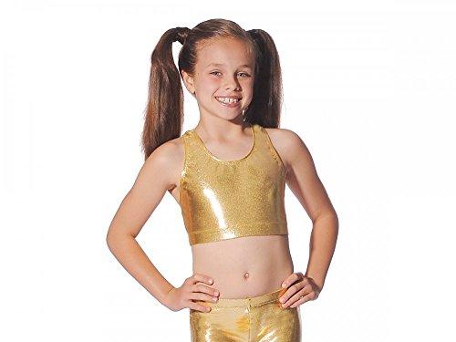 glänzend metallic Nylon Lycra Dance Gymnastik Freestyle, Kinder damen, gold (Acro Kostüme)