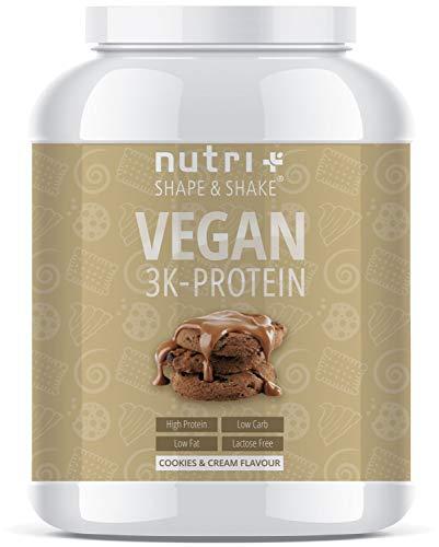 EIWEIßPULVER VEGAN Cookies & Cream 1kg | 81,9{7dcc00180b5a858b12fc7f400a8e768df401256e6959fc31521e63e38b09464c} Eiweiß | Nutri-Plus Shape & Shake ® 3k-Protein | Veganes Proteinpulver ohne Laktose und Milcheiweiß | In Deutschland hergestellt