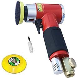 Nouvelle ponceuse / polisseuse d'angle de pression d'air de ponceuse orbitale de haute performance Mini rouge droit long + tampon de ponçage de 50mm et de 75mm
