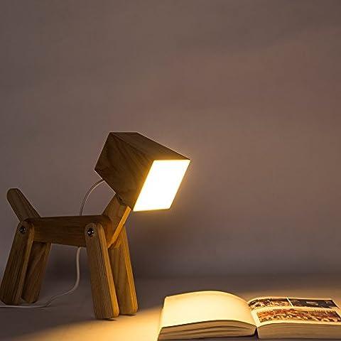HROOME Modern Design Holz Schreibtischlampe Led Touch Dimmbar Verstellbar Tiere Hund Lampe Dimmer Tischlampe Beleuchtung für Kinder Jungen Wohnzimmer Schlafzimmer Nachttischlampe (Ein Ganz Besonderes Geburtstagsgeschenk)