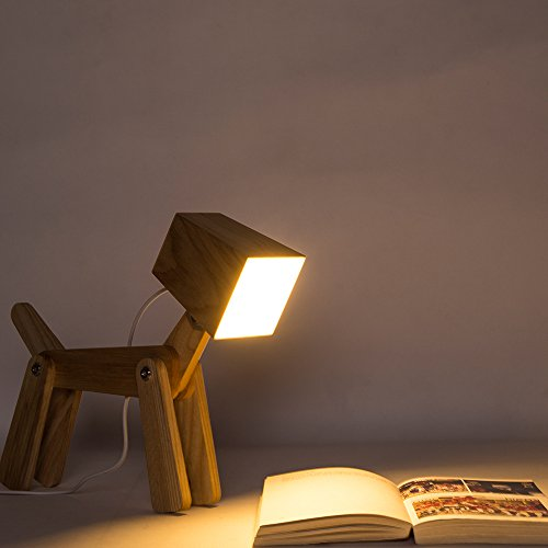 hroome modern design holz schreibtischlampe led touch dimmbar verstellbar tiere hund lampe. Black Bedroom Furniture Sets. Home Design Ideas