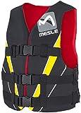 MESLE Schwimmweste V210, XS-XL, gelb-rot-schwarz, 50-N Auftriebsweste Prallschutz Schwimmhilfe, für Erwachsene und Jugendliche, Wasserski Wakeboard Impact-Weste, Nylon, Boot Jet-Ski Yacht, Größen:L