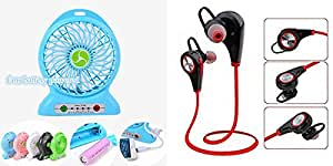 MIRZA Portable Fan & Bluetooth Headset for SONY xperia e dual(Rechargeable Portable Fan with rechargable and Emergency Light & Bluetooth Headset/Wireless Headset/Wireless Earphones/Jogger Headset/Sports Headset/GYM Headset)