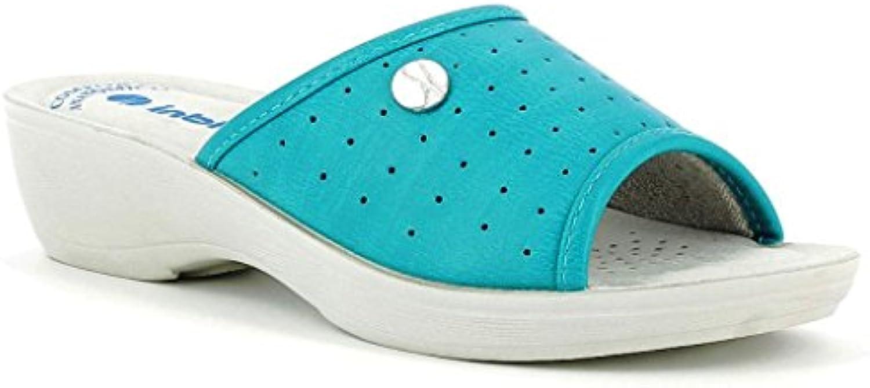 INBLU - Zapatillas de estar por casa de piel sintética para mujer violeta aguamarina 39