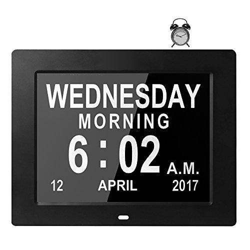 cker, Digitaler Kalender Tag Uhr für Gedächtnisverlust Senioren Demenz Alzheimer's Sehbehinderten Patienten, 5 Alarme Geschenk für Geburtstag Weihnachten (Schwarz) (Bild Einen Tag Kalender)