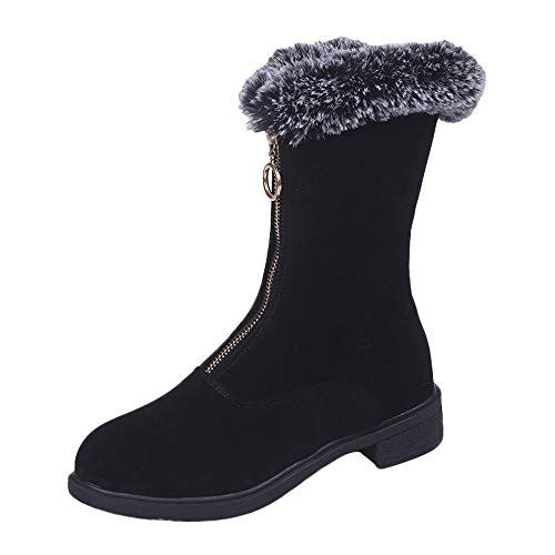 Lucky Mall Frauen Winter Warme Schneeschuhe, Reißverschluss Flache Mode Winterstiefel