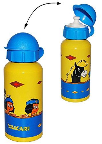 Trinkflasche - Indianer Yakari - gelb / Kinder Flasche - 400 ml aus Aluminium - Alu blau Sport - Aluflasche Fahrradflasche - Mädchen & Jungen