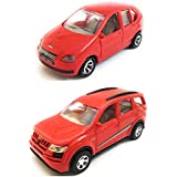 Combo Toys Of Indica Car And Mahindra XUV 500 Car Toy For Kids | Pull Back And Go | Openable Doors | Red Color | Set Of 2 Toys