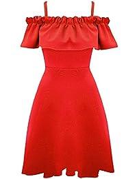 Be Jealous Womens Ladies Peplum Frill Off Shoulder Wide Strappy Bardot Skater Swing Dress UK Plus Size 8-26