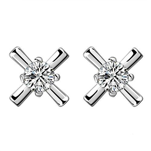 BeyDoDo Schmuck 18K Vergoldet Ohrringe Damen Ohrstecker mit Zirkonia X Ray-Form Kristall Silber Ohrringe