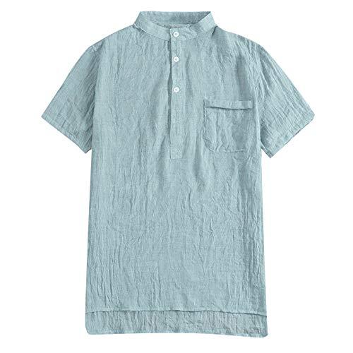 Beonzale Summer Herren Baggy Baumwolle Leinen SOID Farbe Kurzarm Retro T Shirts Tops Bluse Freizeithemd Kurzarm mit - Kinder Pepsi Kostüm