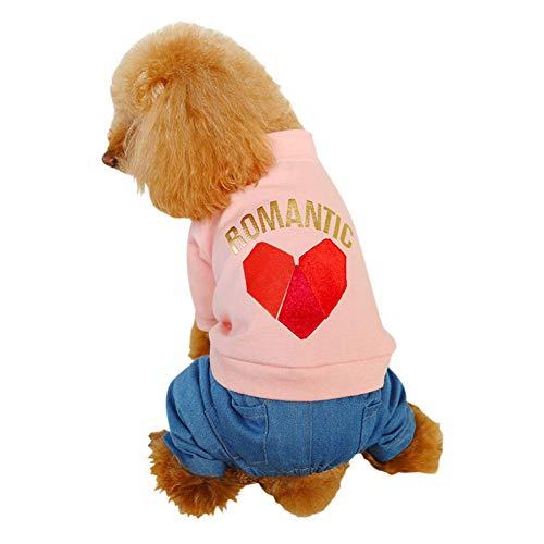 Reefa Haustier-Strickjacke-Jacken-Hosen-Kostüm für kleinen Hundniedlichen Overall-Uniform-Welpen-Knopf-Liebes-Herz-Oberseiten-Denim -