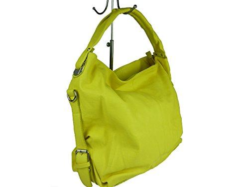 """""""NELLY"""" große Damen Tasche, Schultertasche in 6 Farben 42x33x16 (grau light grey) gelb"""