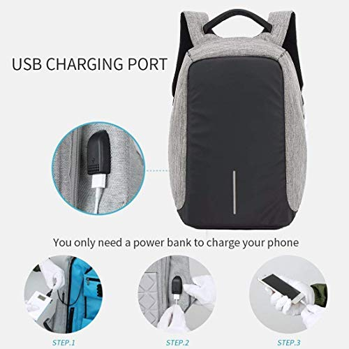 BUCKETLIST® Anti Theft Waterproof Business Travel Laptop Bag with USB Cable and Built in Charging Port for College and Office Work Image 6