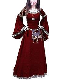 Donna Medievale Girocollo Principessa di Corte Vestito Medioevo Retro Lungo  Abito Travestimento Cosplay Costume Partito 5733256da0a