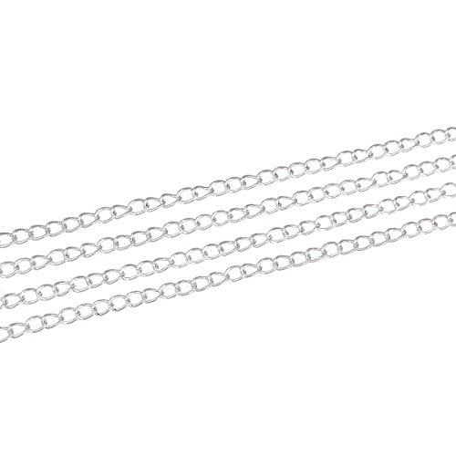 SiAura Material 10m versilberte Gliederkette/Schmuckkette, 5x3mm