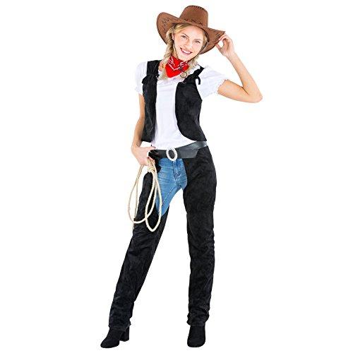 TecTake dressforfun Frauenkostüm Cowgirl | Stretch- Shirt + Weste + Chap und Halstuch | Cowboy Sheriff Faschingskostüm (L | Nr. 300561) (Cowboy Und Saloon Girl Kostüm)