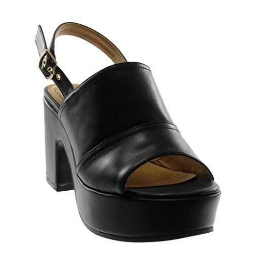 Angkorly Chaussure Mode Sandale Mule Lanière Cheville Plateforme Femme Lanière Boucle Talon Haut Bloc 8.5 cm Noir