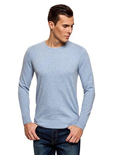 oodji Ultra Herren Pullover Basic mit Rundhalsausschnitt Blau (7001M)