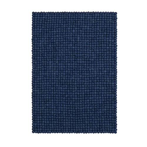 myfelt Alva Filzkugelteppich eckig 100 x 70 cm - blau