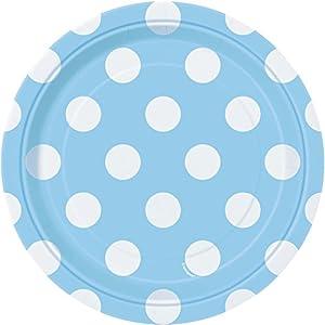 Unique Party- Paquete de 8 platos de papel a lunares, Color azul claro, 37964)