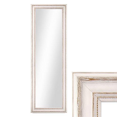 PHOTOLINI Wand-Spiegel 40x100 cm im Massivholz-Rahmen Landhaus-Stil Weiss/Spiegelfläche 30x90 cm