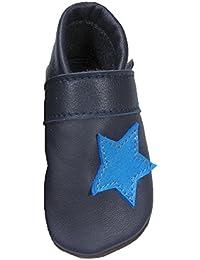 Mopus Mopu's® Krabbelschuhe - Lederpuschen Blau mit hellblauem Stern- Handgemachte Markenqualität Aus Deutschland