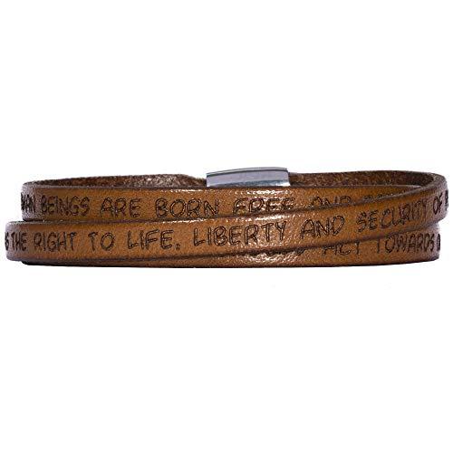 GILARDY GHR-BR1LB60 Human Rights Leder-Armband BR1 in der Farbe Light Brown/Hellbraun mit Gravur der Menschenrechte 60 cm - Large - Human Leder