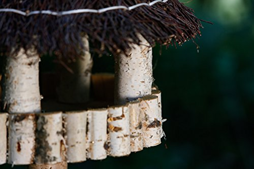 Vogelhaus inkl. Ständer – Birke Natur runder Pavillon mit Dach aus Birkenreisig - 3