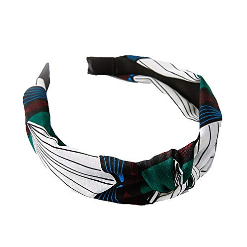 XXSZKAA Retro Geometrisches Muster Diamant Kontrast Kreuz Haarband/Mittelspiel Haar Knoten Hoop/Elastik Blei Ornament, Grün 2