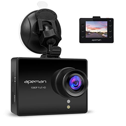 APEMAN Caméra Voiture Conduite Enregistreur Dash Cam Full HD 1080p Dashboard Camera DVR Avec WDR, Enregistrement en Boucle, Objectif 6G Grand Angle de 170 Degrés, G-Sensor, Détection de Mouvement, Moniteur de Parking, Vision de Nuit