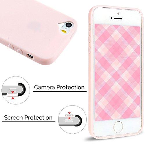 Coque iPhone 5S , Coque iPhone SE , Anfire Etui Souple Flexible en Premium TPU Apple iPhone SE / 5S / 5 Ultra Mince Gel Silicone Transparent Clair Housse de Protection Soft Crystal Case Cas Couverture Rose