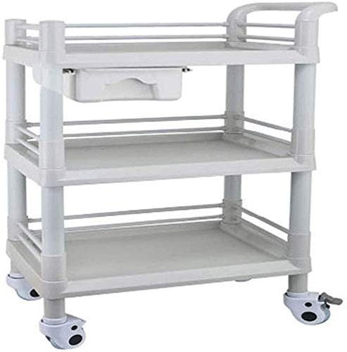 HY Trolley, Service Cart Abs 3-Tier Trolley Wagen mit Rädern, Medical Laboratory Tool Cart, Haar Beauty Salon Spa Haushalts Utility Cart,64,5 * 44,5 * 98 cm