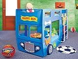 Hohes Etagenbett bus, Rot, gelb oder blau, Omnibusse, inkl. Rollrost und Matratze blau