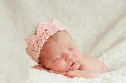 New Handmade Newborn Baby Girl Boy Crochet Knit Crown Hat Photography Prop,Pink