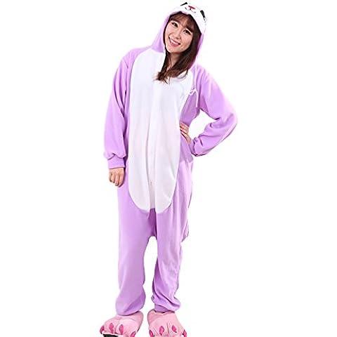 MissFox Pijamas Enteros Kigurumi Disfraces Cosplay de Animales para Adultos Disfraz Pijama Hombre Mujer Kigurumis Anime Púrpura