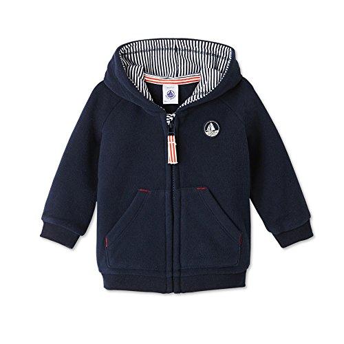 Petit Bateau Motus - Sweat-shirt à capuche - Uni - Manches longues - Bébé garçon - Bleu (Abysse) - FR: 6 mois (Taille fabricant: 6 mois)