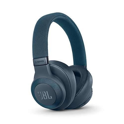 JBL E65 Auriculares inalámbricos con Bluetooth y cancelación de ruido activa, botón como control remoto incorporado, sonido JBL, azul