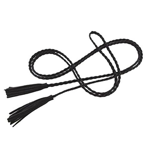 Nanxson(TM) Damen / Mädchen Dekorative Gestrickte Lederbauchkette / Seil / Gurt mit Troddel PDW0042 (schwarz)